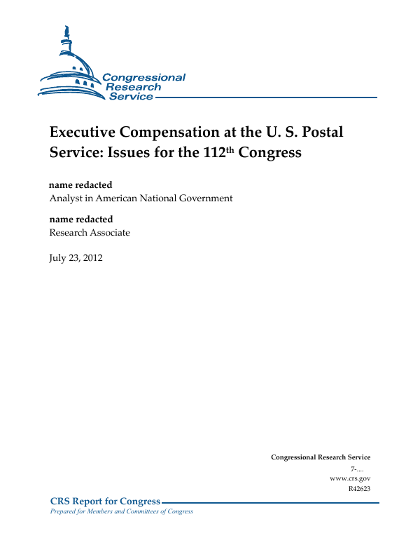 Executive Compensation at the U  S  Postal Service: Issues