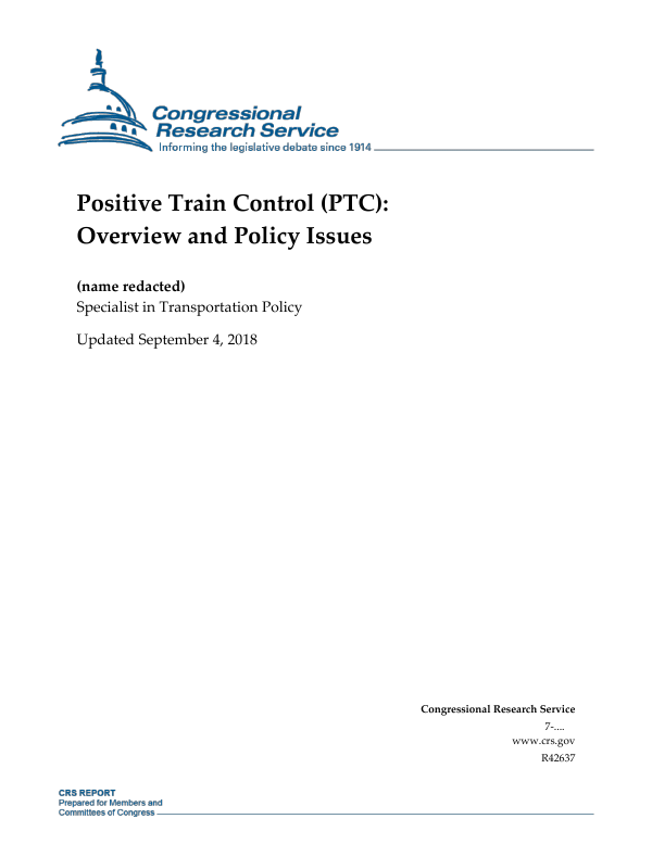 Positive Train Control (PTC): Overview and Policy Issues
