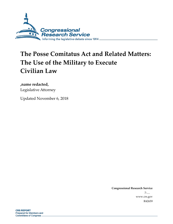 The Posse Comitatus Act and Related Matters: The Use of the