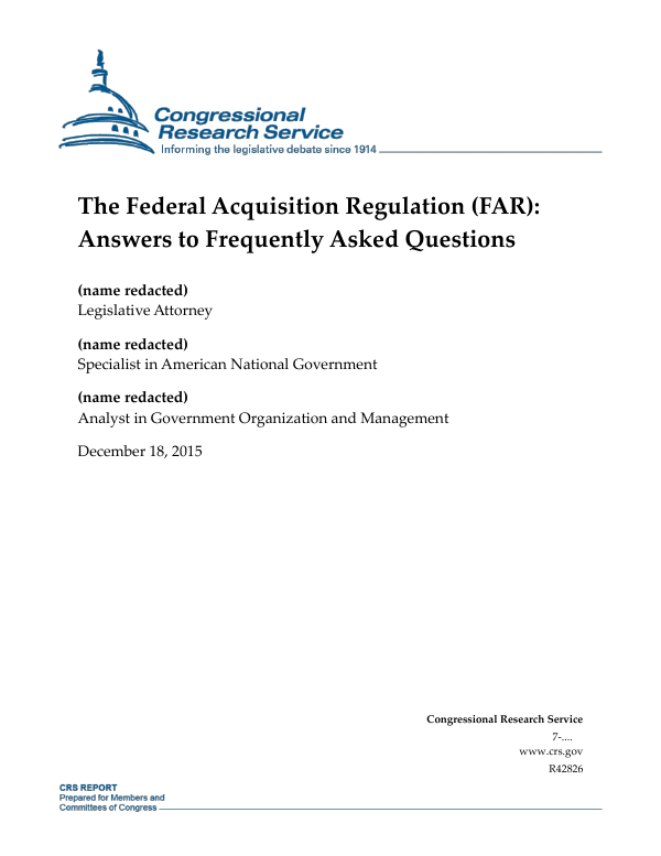 The Federal Acquisition Regulation (FAR): Answers to