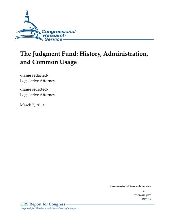 The Judgment Fund: History, Administration, and Common Usage
