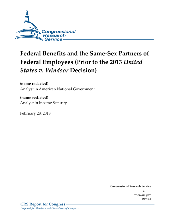 Federal Benefits and the Same-Sex Partners of Federal