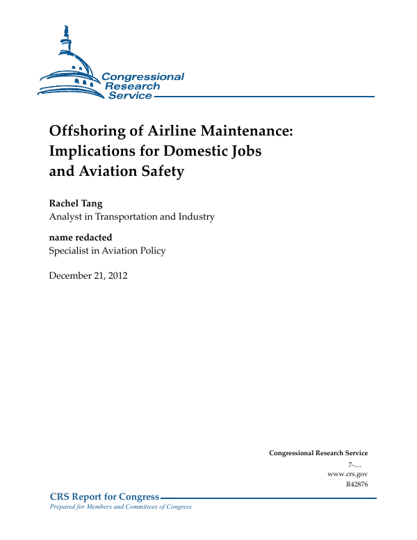 Offshoring Of Airline Maintenance Implications For Domestic Jobs