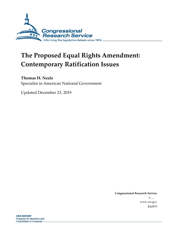 The Proposed Equal Rights Amendment Contemporary Ratification