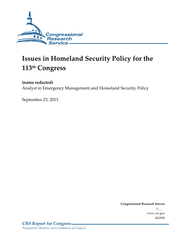 Issues in Homeland Security Policy for the 113th Congress
