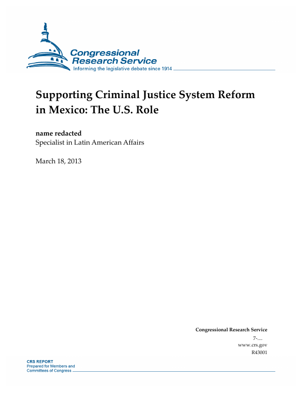 Supporting Criminal Justice System Reform in Mexico: The U.S. Role