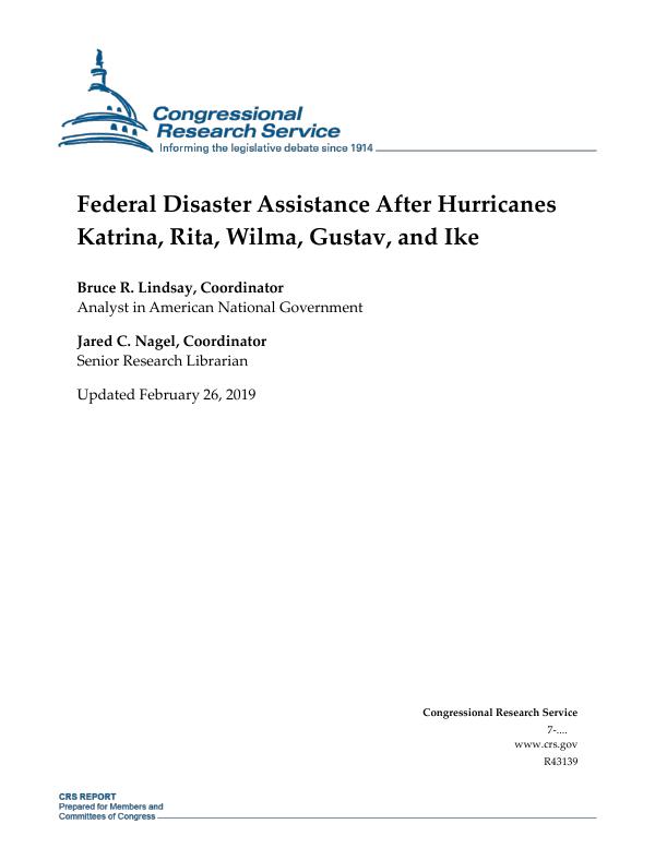 Federal Disaster Assistance After Hurricanes Katrina, Rita