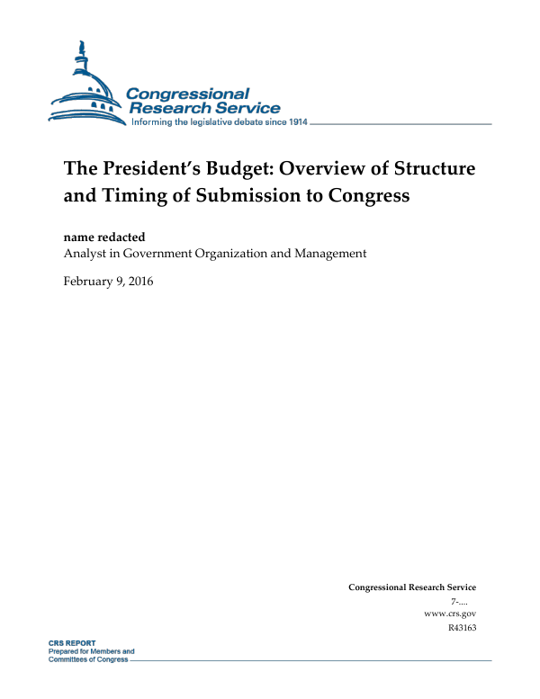 Bush Submits Budget To Congress Thats >> The President S Budget Overview Of Structure And Timing Of