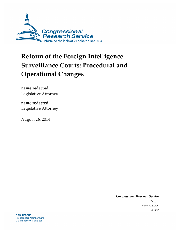 Reform of the Foreign Intelligence Surveillance Courts