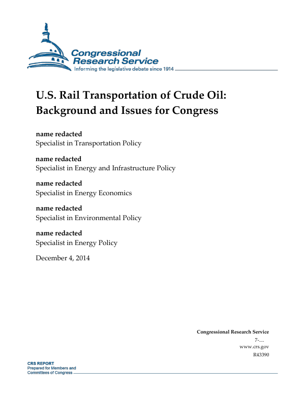 U.S. Rail Transportation of Crude Oil: Background and Issues for ...