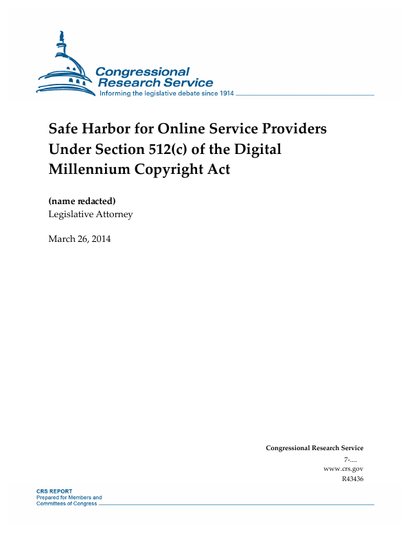 Safe Harbor for Online Service Providers Under Section 512(c) of the