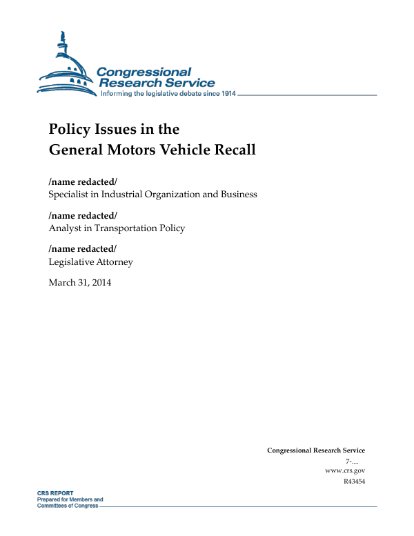 Policy Issues in the General Motors Vehicle Recall