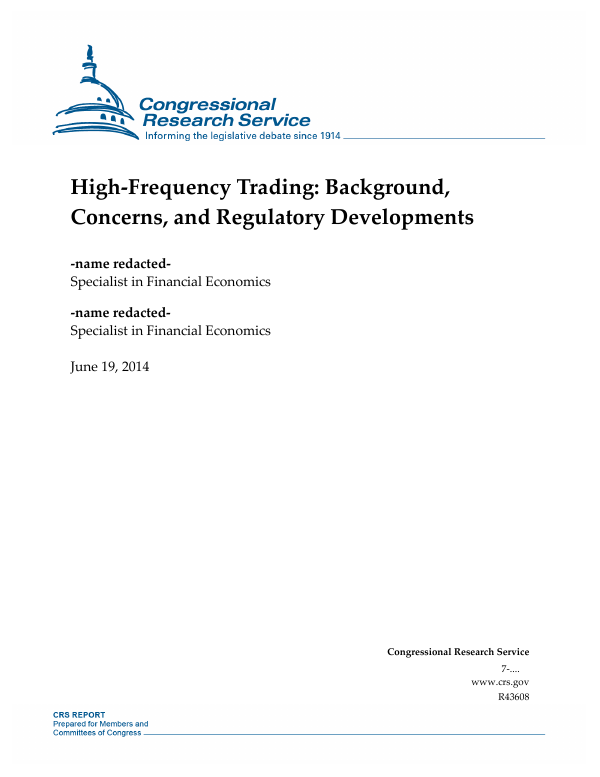 High-Frequency Trading: Background, Concerns, and Regulatory