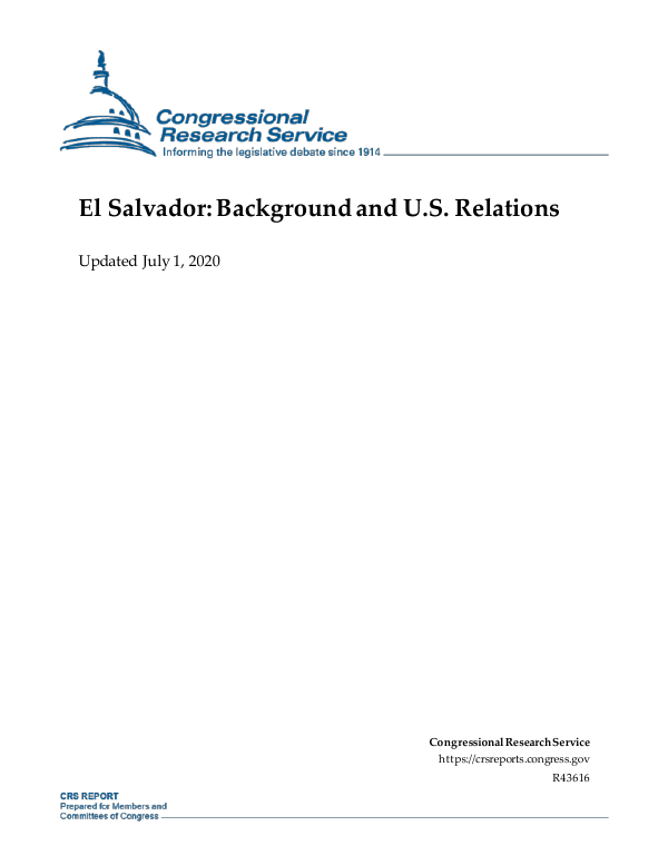 El Salvador: Background and U S  Relations - EveryCRSReport com