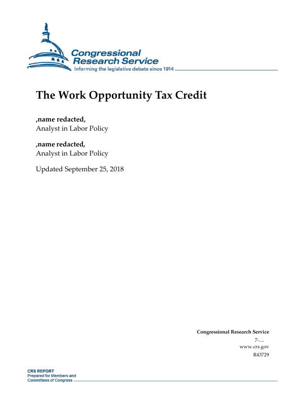 The Work Opportunity Tax Credit Everycrsreport Com