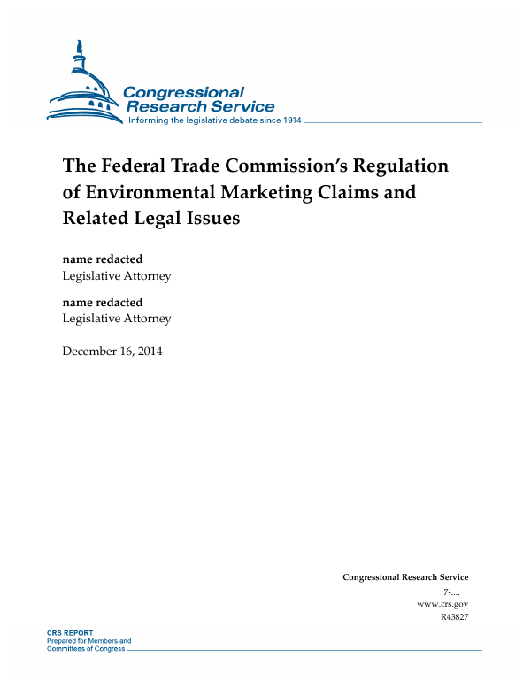 The Federal Trade Commission's Regulation of Environmental