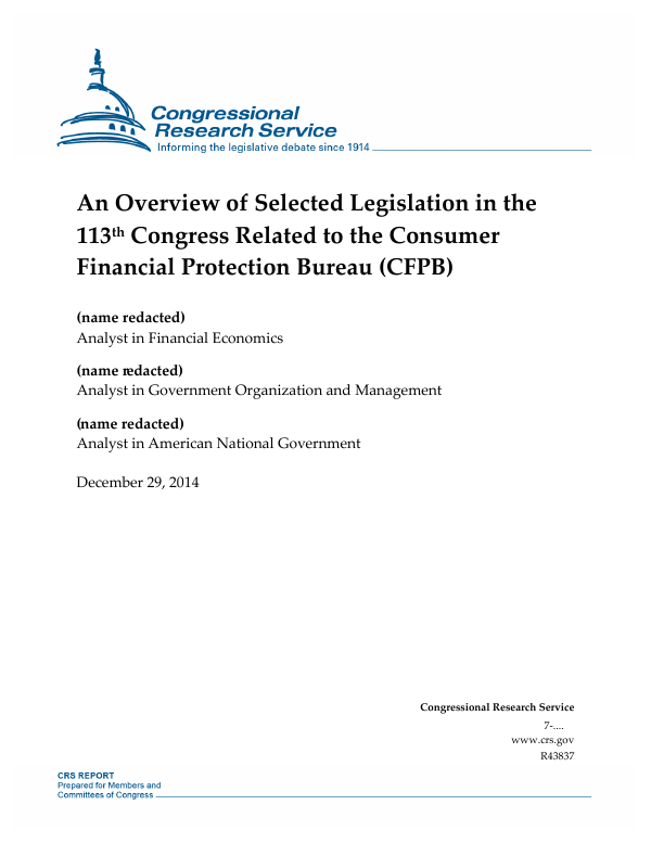 Gao Recommends Legislation Re Notice Of >> An Overview Of Selected Legislation In The 113th Congress