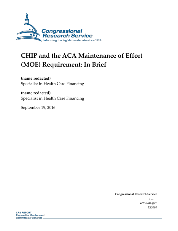 Maintenance Of Effort Moe >> Chip And The Aca Maintenance Of Effort Moe Requirement In Brief
