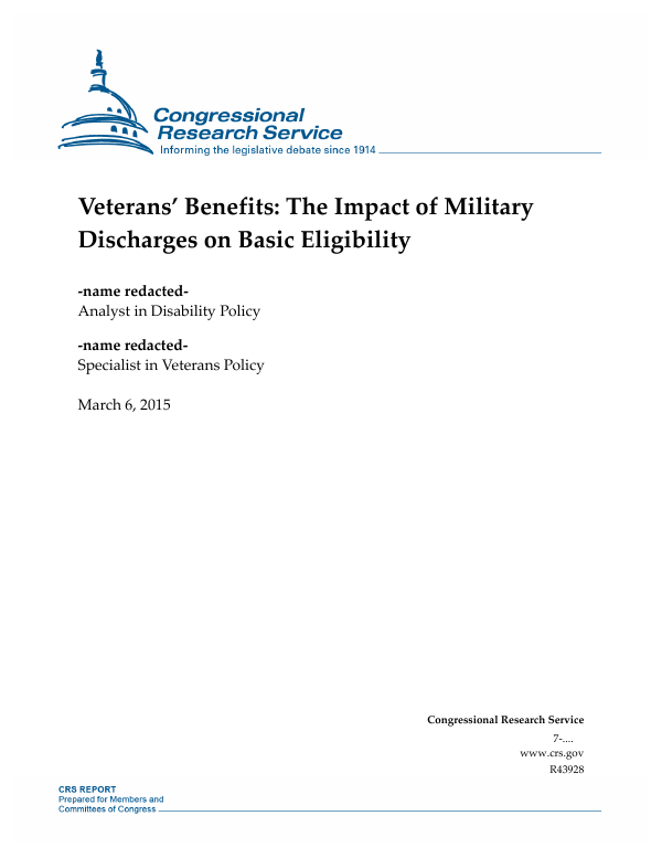 Veterans Benefits The Impact Of Military Discharges On Basic Eligibility Everycrsreport Com