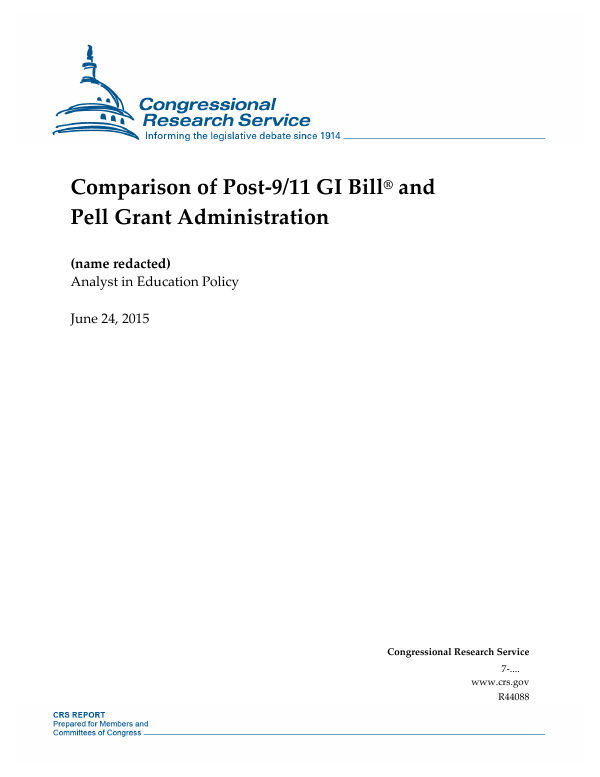comparison of post 911 gi bill and pell grant administration everycrsreportcom