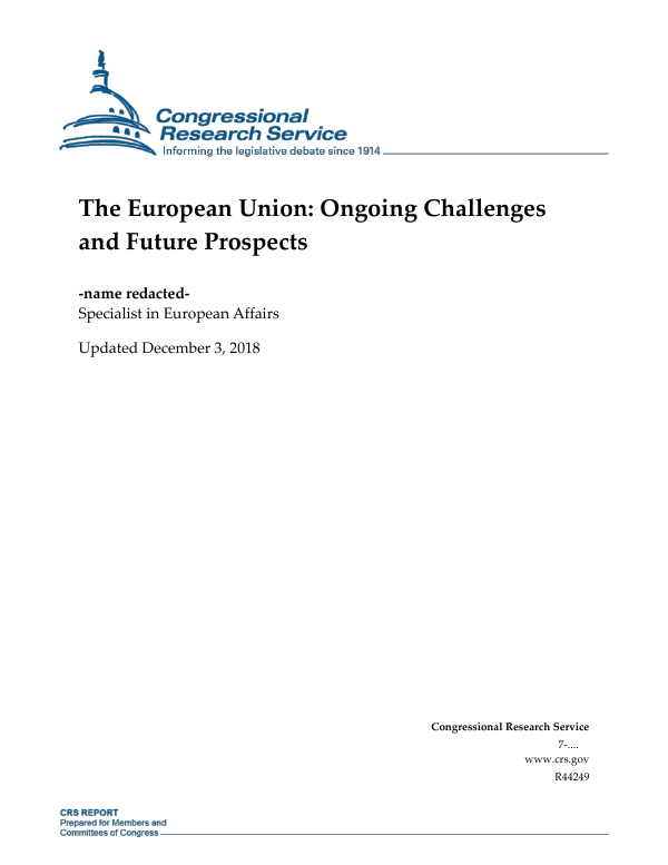 The European Union: Ongoing Challenges and Future Prospects