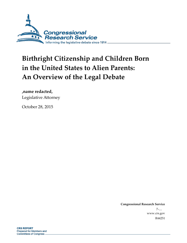 Birthright Citizenship and Children Born in the United States to