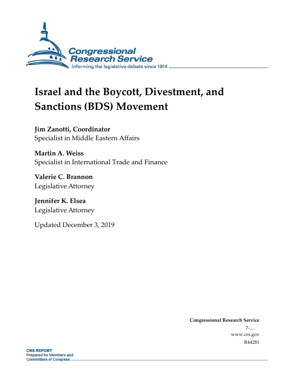 Israel And The Boycott Divestment And Sanctions Bds Movement