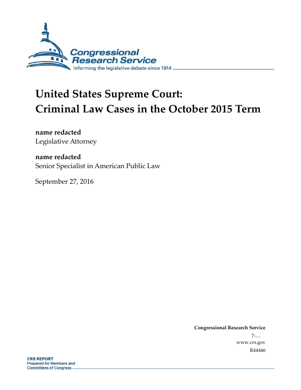 United States Supreme Court Criminal Law Cases In The October 2015