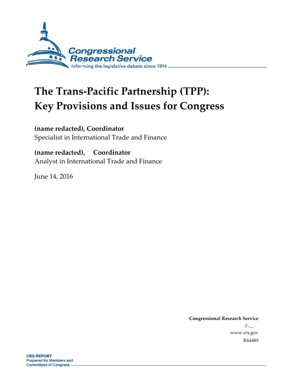 The Trans-Pacific Partnership (TPP): Key Provisions and Issues for Congress  - EveryCRSReport.com