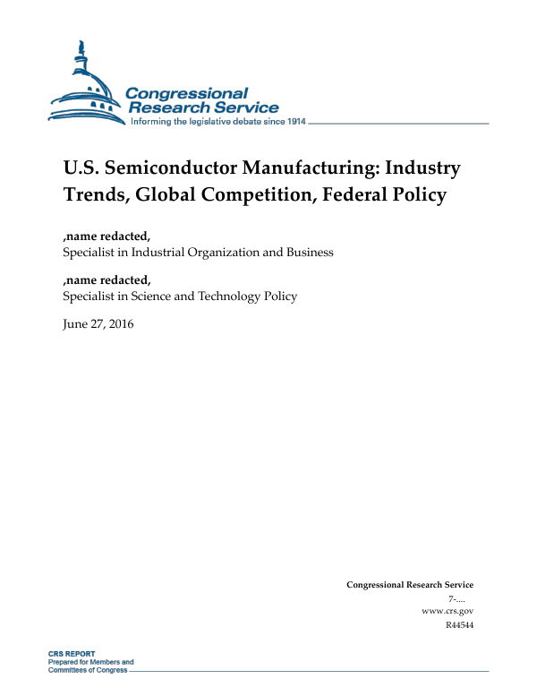 U S  Semiconductor Manufacturing: Industry Trends, Global