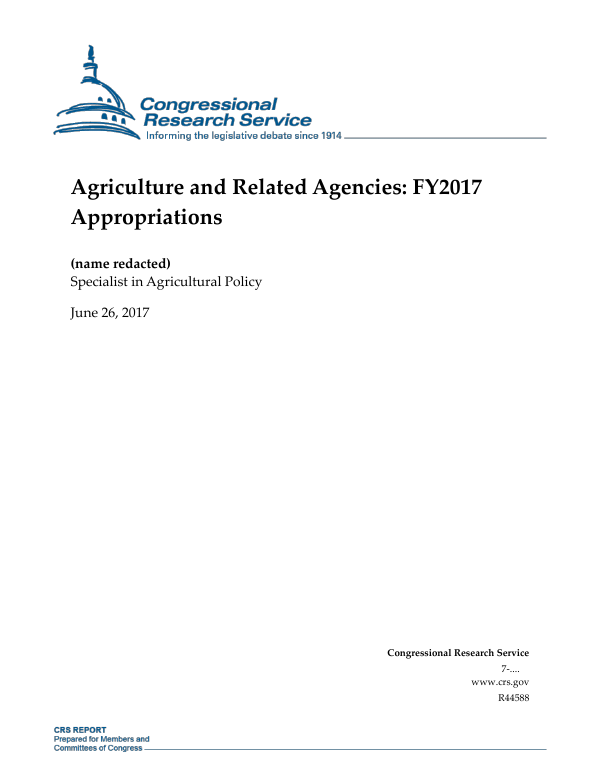 Agriculture and Related Agencies: FY2017 Appropriations