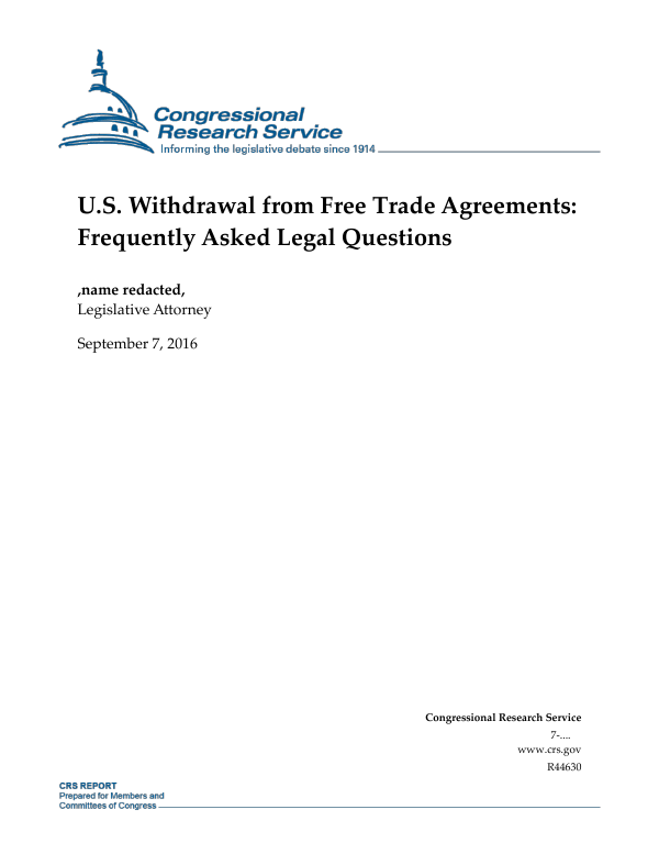 Us Withdrawal From Free Trade Agreements Frequently Asked Legal