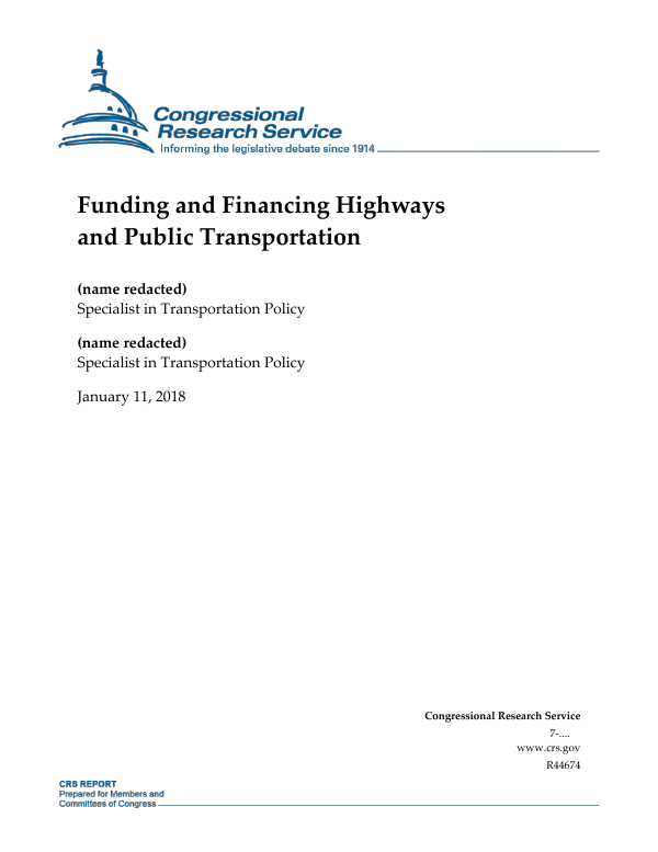 Funding and Financing Highways and Public Transportation