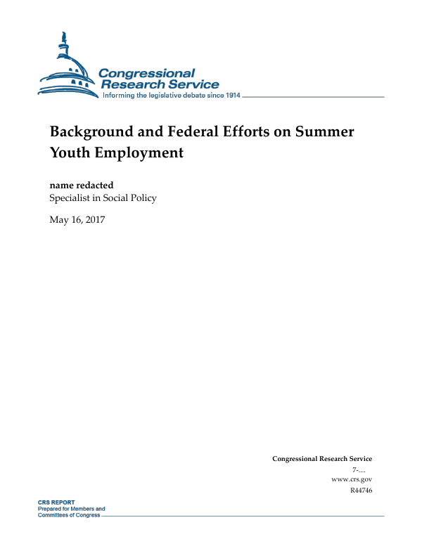 Background and Federal Efforts on Summer Youth Employment