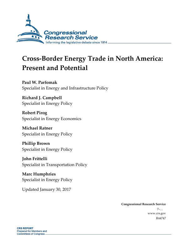 Cross Border Energy Trade In North America Present And Potential