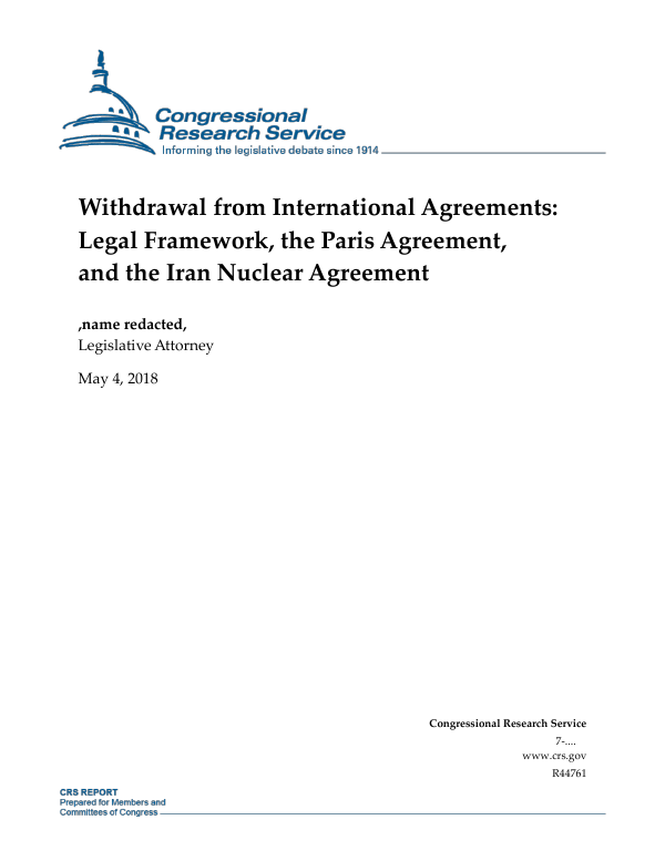 Withdrawal From International Agreements Legal Framework The Paris