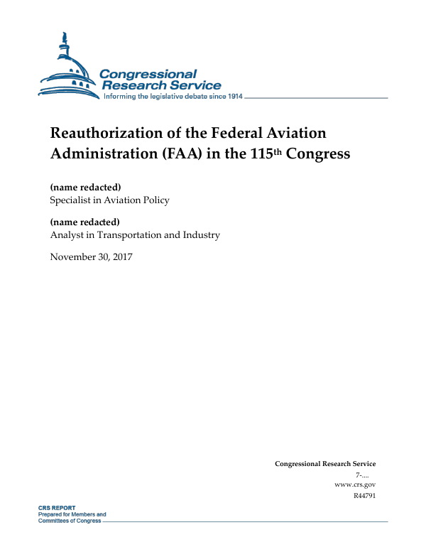 Reauthorization Of The Federal Aviation Administration Faa In The