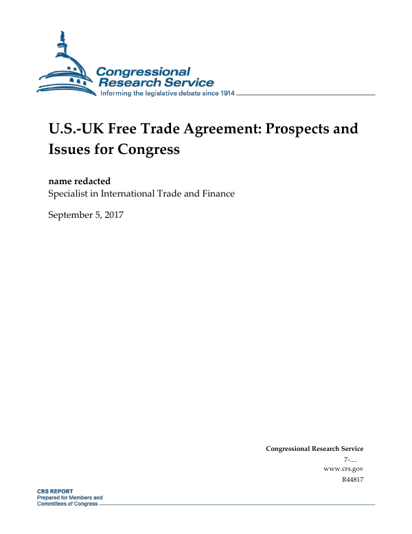 Us Uk Free Trade Agreement Prospects And Issues For Congress