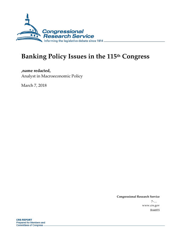 Banking Policy Issues in the 115th Congress - EveryCRSReport com