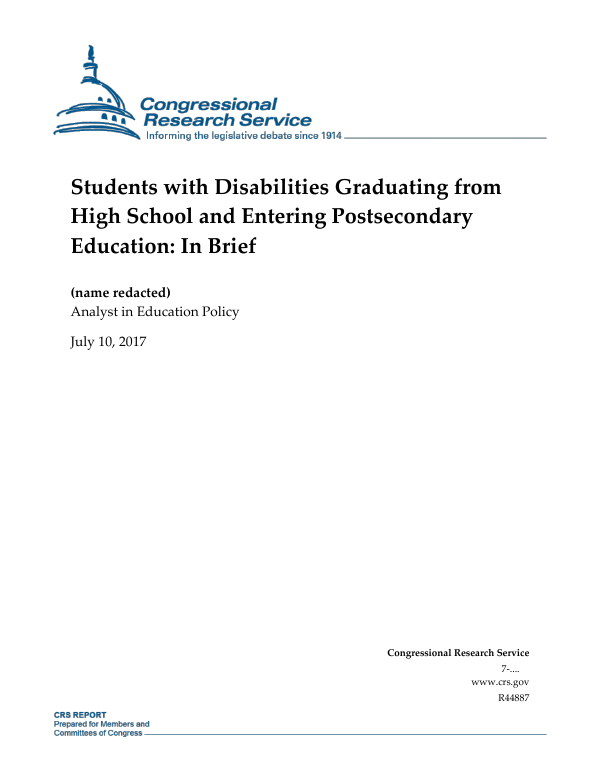 Students With Disabilities Graduating From High School And Entering