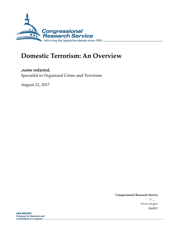 Domestic Terrorism An Overview Everycrsreport