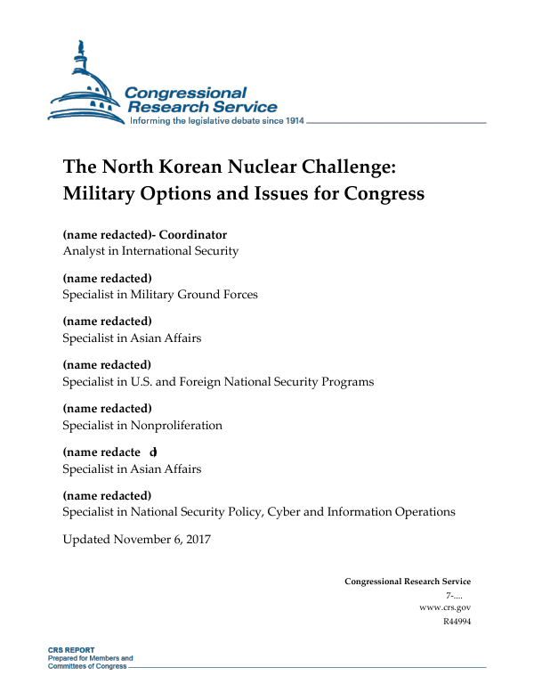 The North Korean Nuclear Challenge: Military Options and Issues for