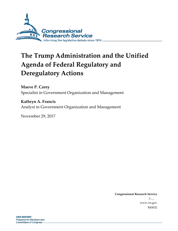 Introduction to the Unified Agenda of Federal Regulatory and Deregulatory Actions