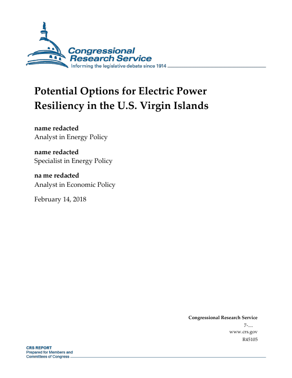 Potential Options for Electric Power Resiliency in the U S