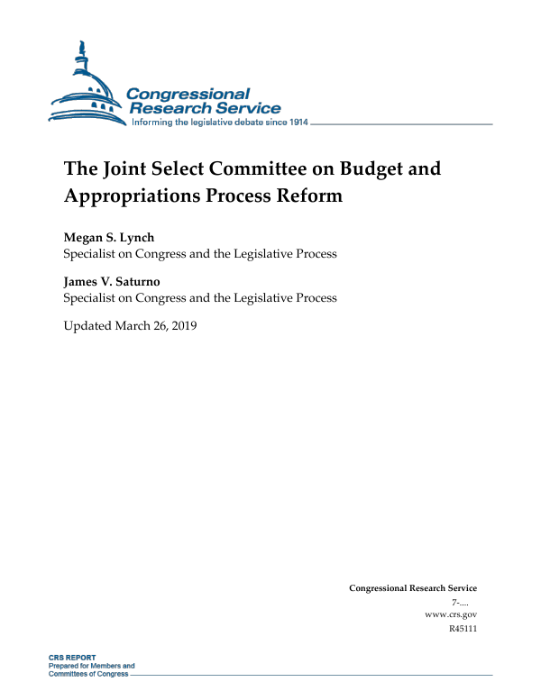 The Joint Select Committee on Budget and Appropriations ...