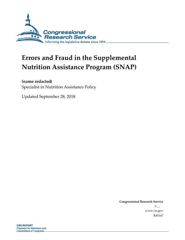 Errors And Fraud In The Supplemental Nutrition Assistance Program SNAP