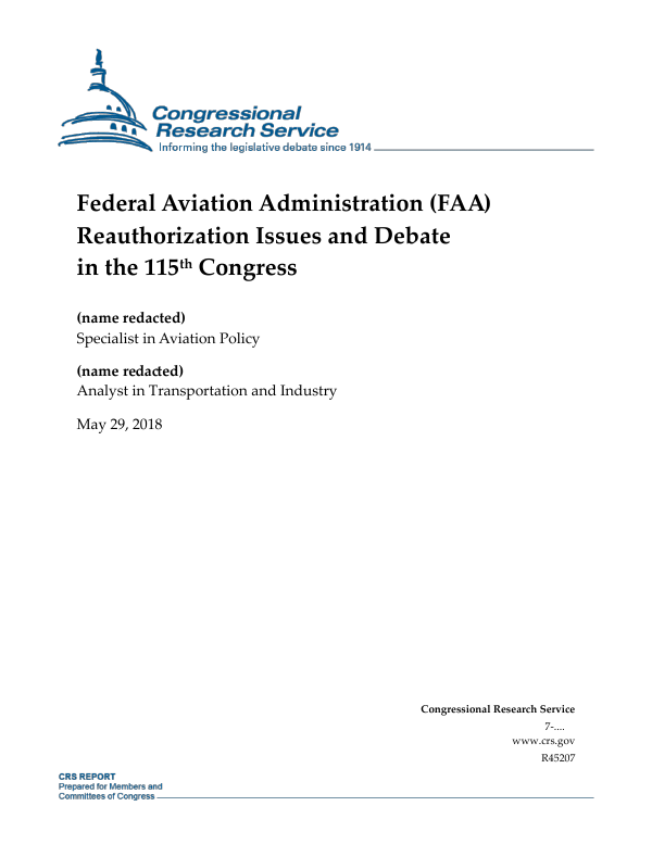 Federal Aviation Administration (FAA) Reauthorization Issues