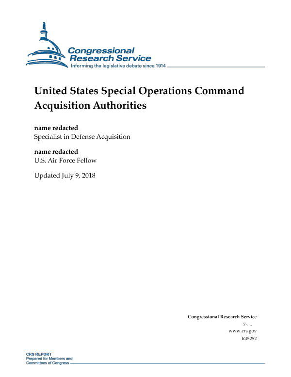 United States Special Operations Command Acquisition Authorities