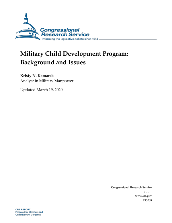 Military Child Development Program: Background and Issues