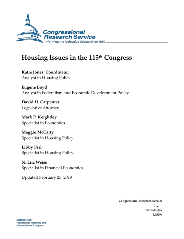 Housing Issues in the 115th Congress - EveryCRSReport com